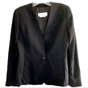 MaxMara Black Collarless Virgin Wool Blazer Size 4